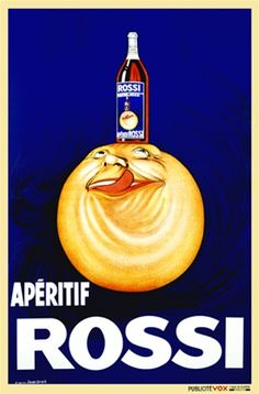 Apertif Rossi by Droit 1926 France - Vintage Poster Reproductions. This vertical french wine and spirits poster features a sun or orange ball with a face looking up at the bottle on its head licking his lips. Giclee Advertising Print. Classic Posters