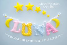 Star nursery Fabric name banner, shooting stars, wall decor Nursery Banner, Nursery Fabric, Star Nursery, Elephant Nursery, Fabric Letters, Fabric Names, Star Ornament, Felt Ornaments, Name Wall Art