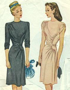 1945 McCall 6230 - Soft and Curvy Dress Gathers