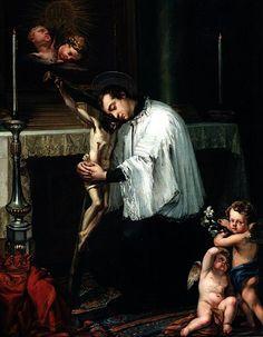 Luis López Piquer - San Luis Gonzaga abrazando el Crucifijo (siglo XIX)
