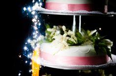 Wedding cake with sparklers