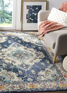 75 Beautiful Rug for Farmhouse Living Room Design Ideas - Roomaintenance Living Room Area Rugs, Living Room Carpet, Room Rugs, Rugs In Living Room, Rug Over Carpet, Hall Carpet, Living Room Bookcase, Eclectic Rugs, Rugs
