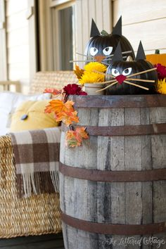 How To Make Black Cat Pumpkins / The Lettered Cottage