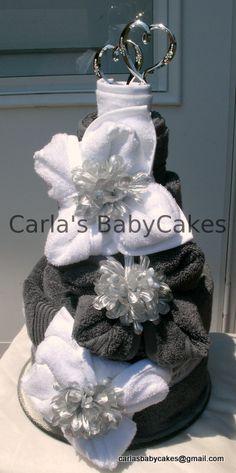 Bridal Shower Towel Cake  Or Wedding Towel Cake  2 bath towels, 2 hand towels, 6 washcloths, cake topper