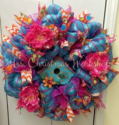 Deco mesh wreath with birdhouse peony by MrsChristmasWorkshop