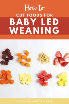 If you're baby is about to hit the 6 month mark, it's the perfect time to learn how to prepare solid foods for baby led weaning. Learn how to cut and serve fruits, vegetables, and other finger foods for each age, what gagging means and how to avoid choking, and how to feel confident and keep your baby safe as they navigate the weaning process. #babyledweaning #babyfirstfoods #BLWtips #babyfoodtips Baby Led Weaning Breakfast, Baby Led Weaning First Foods, Baby Weaning, Healthy Toddler Meals, Easy Meals For Kids, Meals For One, Baby First Finger Foods, Baby Solid Food, Baby Feeding Schedule
