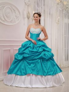 Beaded Sweetheart Dresses for a Quince Pick-ups in Teal and White