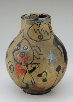 Joan Miró (1893-1983)-- Spanish surrealist artist Miró expressed contempt for conventional painting methods, as a way of supporting bourgeois society, in favour of upsetting the visual elements of established painting. -  Vase