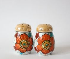 SALE Vintage Boho Floral Salt and Pepper Shakers With Orange and Blue Flowers Stamped Japan - pinned by pin4etsy.com