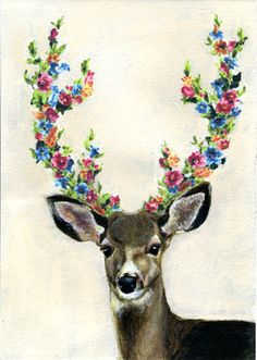 deer with flowered antlers art oh deer