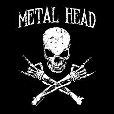 Metal Head Skull and Crossbones - Heavy Metal - Horns Heavy Metal Bands, Heavy Metal Tattoo, Heavy Metal Rock, Heavy Metal Music, Black Metal, Rock And Roll, Pop Rock, Hard Rock, Death Metal