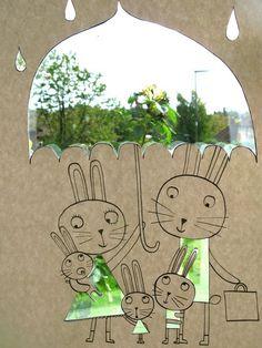 umbrella little rabbits collage and illustration Art And Illustration, Clouds And Rain, Bunny Art, Art Plastique, Teaching Art, Collage Art, Art Lessons, Illustrators, Paper Art