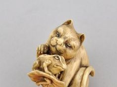 686. Cat & Toad Netsuke - The Muriel S. Butkin Estate Auction - ASPIRE AUCTIONS