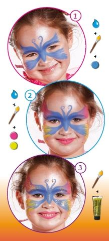 Butterfly facepaint I might be able to manage for Ellie's Halloween costume.  Maquillage: http://www.feezia.com/univers/accessoires-de-fete/maquillage-1/boite-de-12-crayons.html  paillettes: http://www.feezia.com/univers/accessoires-de-fete/maquillage-1/paillettes-argent.html
