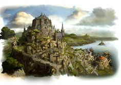 View an image titled 'Caldisla Kingdom Art' in our Bravely Default art gallery featuring official character designs, concept art, and promo pictures. Fantasy City, Fantasy Castle, Fantasy Places, Fantasy Map, Medieval Fantasy, Fantasy World, Final Fantasy, Environment Concept Art, Environment Design