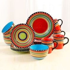 Dinnerware Set Southwestern Dishes16 Piece Plates Cups Mugs Bowls Reds Blues