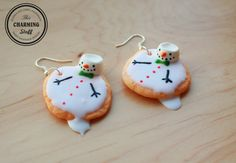 melting snowman cookie earrings! Handmade with love.Great Christmas gift :)