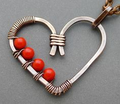 Oxidized Copper Heart #Necklace with Red Czech Glass #Beads