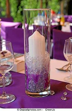 Over 40 beautiful wedding reception candle ideas with pictures to inspire you to create your own wedding table candle centerpiece. Candle Centerpieces, Pillar Candles, Purple Wedding, Dream Wedding, Wedding Table, Wedding Reception, Event Decor, Gala Decor, Wedding Crafts