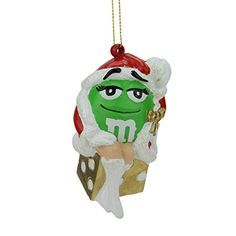 275 Santa Hat Wearing Green M  M Primping Present Christmas Ornament -- Want additional info? Click on the image.
