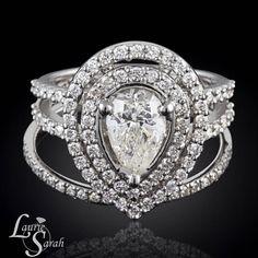 Diamond Engagement Ring, Pear Diamond Ring, Diamond Ring, Diamond Wedding Set, Gold Diamond Wedding Set, White Gold Diamond Ring - LS3855  #LaurieSarah #Diamondring #engagementring #customengagement #weddingbands #customdesignjewelry