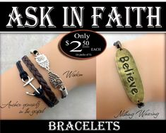 Bracelets - YW 2017 Ask of God Ask in Faith Young Women Theme Jewelry Charms DIY LDS New Beginnings, Missionary, Christmas, Birthday gifts by templesquares on Etsy