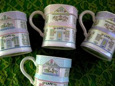 Lenox Village Coffee Mugs Discontinued Set of 4 by ChinaGalore Lenox Village, Village Coffee, Lenox China, Cafe Me, Gold Wreath, China Patterns, Fine Porcelain, Victorian Fashion, Blue Stripes