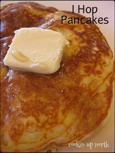 "IHOP pancake recipe from ""America's Most Wanted Recipes."" by Ron Douglas  -- IHOP pancakes  1 1/4 c. flour 1 tsp. baking powder 1 tsp. Baking soda pinch of salt 1 egg, beaten 1 1/4 c. buttermilk 2 Tbsp. melted butter 1/4 c. sugar"
