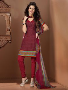 Red dot printed #cotton #salwarkameez comes with #georgette dupatta.