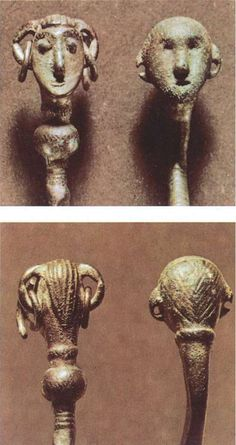 Two female heads from Danish Bronze Age. Both have big ears with dangling rings…