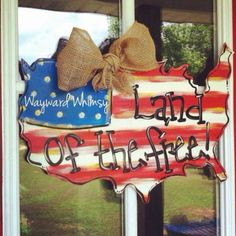 Land Of The Free America Usa Door Hanger Wood Cut Out Copy