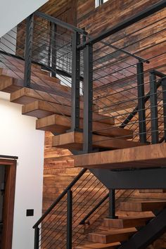 Hickory Floating Staircase - Viewrail