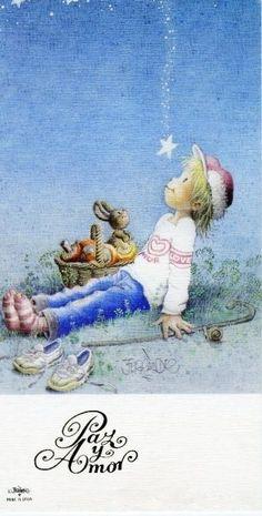 MI MALETA DE RECORTES: La Mágica Navidad de Ferrándiz Vintage Christmas Cards, Vintage Cards, Vintage Postcards, Kids Poems, Mexican Art, Sacred Art, Conte, Cute Illustration, Vintage Pictures