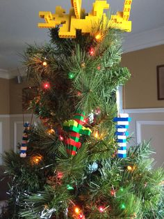 Our Christmas tree decorated with only Lego ornaments and star @evanmather
