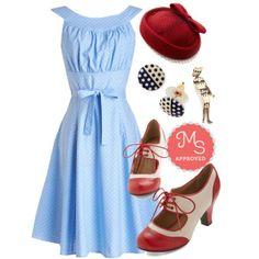 #blue #dress #hat