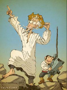 Don Quijote y Sancho Panza. Miguel de Cervantes. Por David Pintor. disponible en Spaint