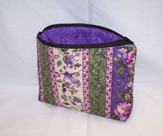 Makeup bag, zipper pouch, cosmetic bag, small bag with zipper quilted fabric, paisley, cancer ribbon, butterfly by lisalynnitems on Etsy