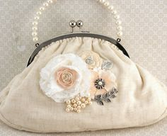 Bridal Clutch Vintage Inspired Purse in Ivory and by SolBijou, $160.00