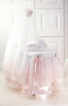 Pink & white girls bassinet with canopy, chiffon tulle and satin with bows