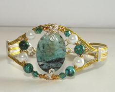 HUGE SALE!! Larimar Bracelet Statement Cuff Bold Blue Bracelet Artisan Jewelry Wire Sculpture Bracelet Wire Wrap Wirewrapped by DeMor Jewels #etsymnt #fashion