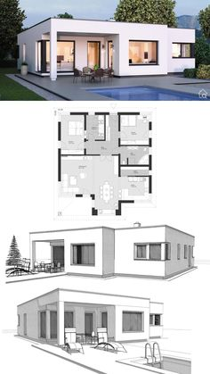 Prefab Bungalow modern Bauhaus style with flat roof & 3 rooms floor plan, square with bay window, open kitchen with pantry & covered pool terrace – Detached house single storey ideas ELK House Plans Bungalow 125 – HausbauDirekt. Modern Bungalow House, Modern House Facades, Bungalow House Plans, Pool House Plans, House Layout Plans, House Layouts, Flat Roof House, Facade House, House Outside Design