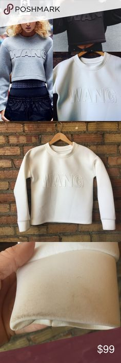 ALEXANDER WANG Ltd edition Scuba crop sweatshirt Limited edition complication with h&m! Sz small- it's not in perfect condition-- its white and has marks on the sleeves as I have pictured and it's wrinkled from storage. I'm not sure if the wrist stains can be removed bc I haven't tried and I don't like to mess with that stuff-- I'm not sure what it's made out of bc the tag is missing. It's a Scuba suit feeling material. Will fit an XS or small. Alexander Wang Tops