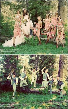 role reversal photo- bridesmaids act like groomsmen, groomsmen act like bridesmaids