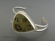 Silver Cuff Silver Bracelet Silver Jasper Cuff by LjBjewelry
