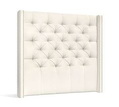 Harper Upholstered Tufted Tall Headboard, California King, Denim Warm White