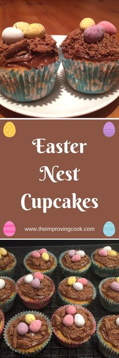 Easter Nest Cupcakes- classic yellow sponge cupcake with real chocolate icing and of course Cadbury's mini eggs! Perfect for baking with the kids for Easter. #easter #easterecipes #chocolate #cupcakerecipes #minieggs