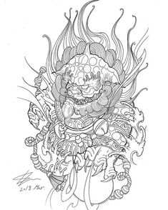 Another foodog design for upcoming sleeve. Foo Dog Tattoo Design, Japan Tattoo Design, Tattoo Designs, Asian Tattoos, Arm Tattoos, Sleeve Tattoos, Tattoo Sketches, Tattoo Drawings, Art Sketches