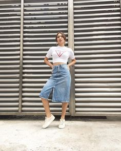 Nadine for it's showtime (enzo IG) Skirt Ootd, Denim Skirt Outfits, Denim Outfit, Denim Skirts, Nadine Lustre Ootd, Nadine Lustre Fashion, Christening Outfit Girl, Summer Outfits, Casual Outfits