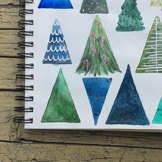 Nuova progrttazione di pattern. Qui c'è aria di Natale ad agosto!  #illustration #watercolor #pattern #christmastree #tree #christmas