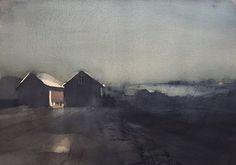 'Hasslö, Blekinge'. Watercolor by Magnus Petersson